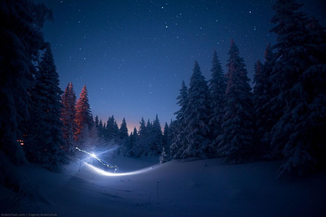 Звездное небо на Южном Урале зимой