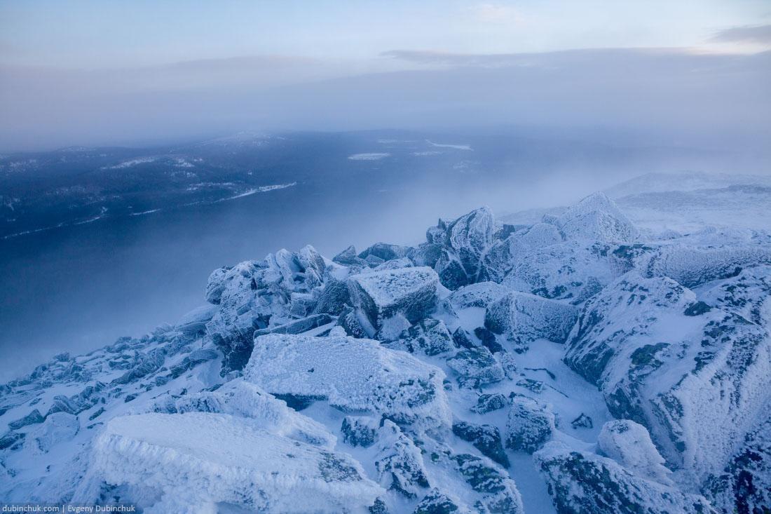 Камни. Зима. Гора Малый Иремель