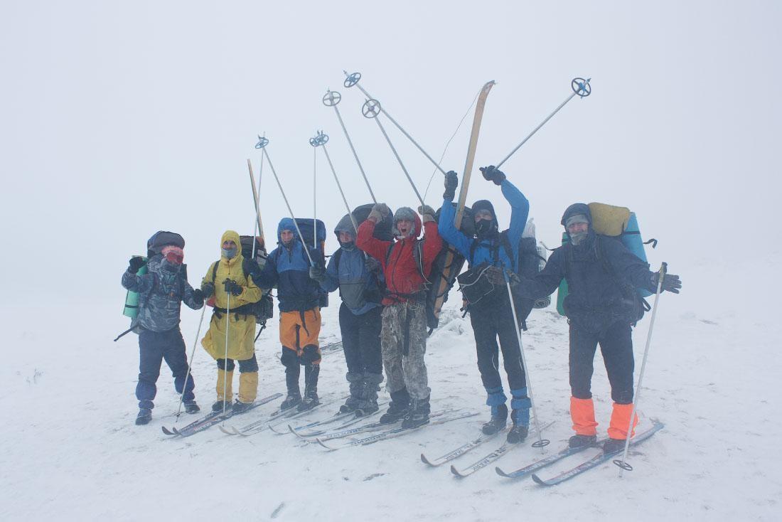 На вершине горы хребта Нургуш. Лыжный поход