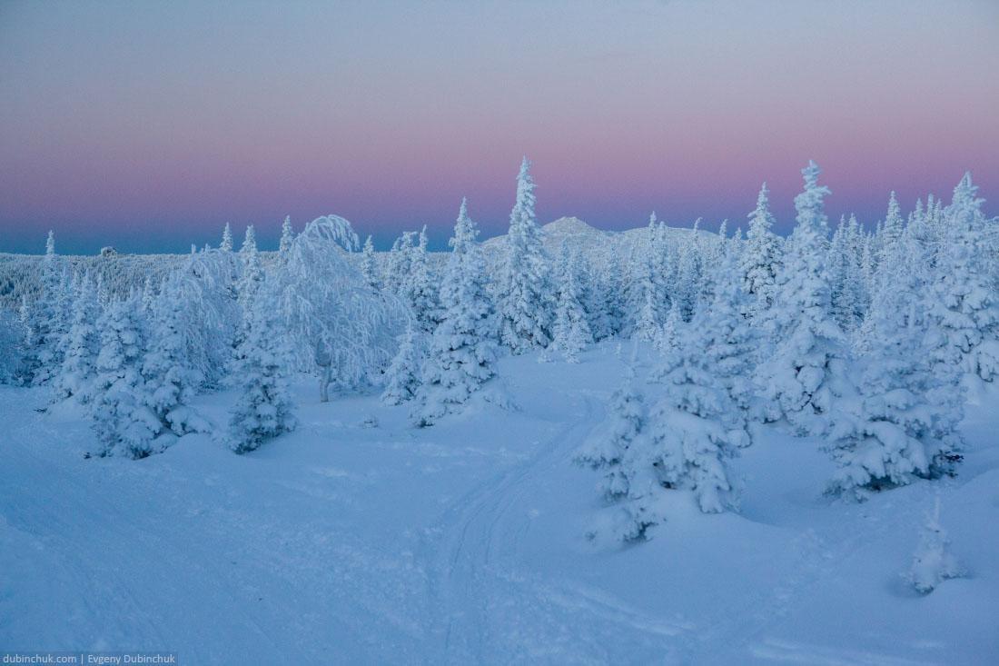 Закат в горах Южного Урала зимой