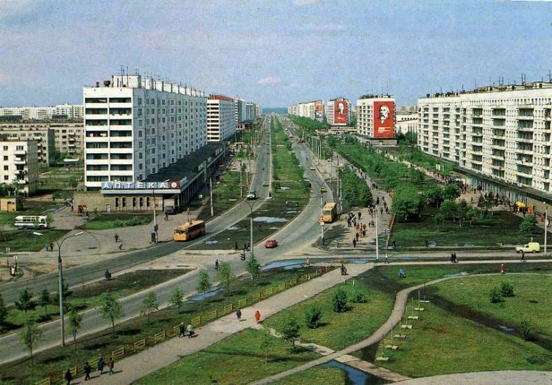 Челябинск. Комсомольский проспект. Фото В. Иванова, 1984 год.