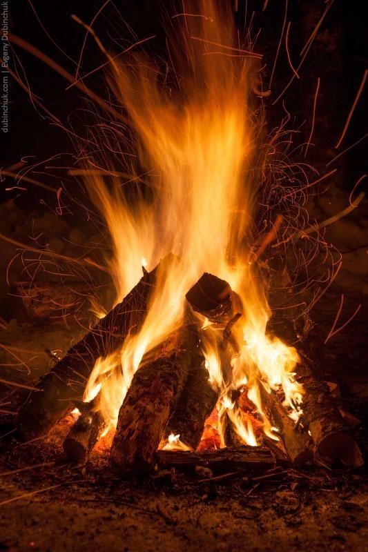 Пламя костра в зимнем лесу