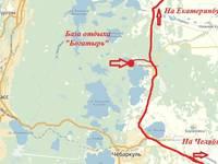 Схема проезда на турбазу «Богатырь» (озеро Малый Сунукуль) 2