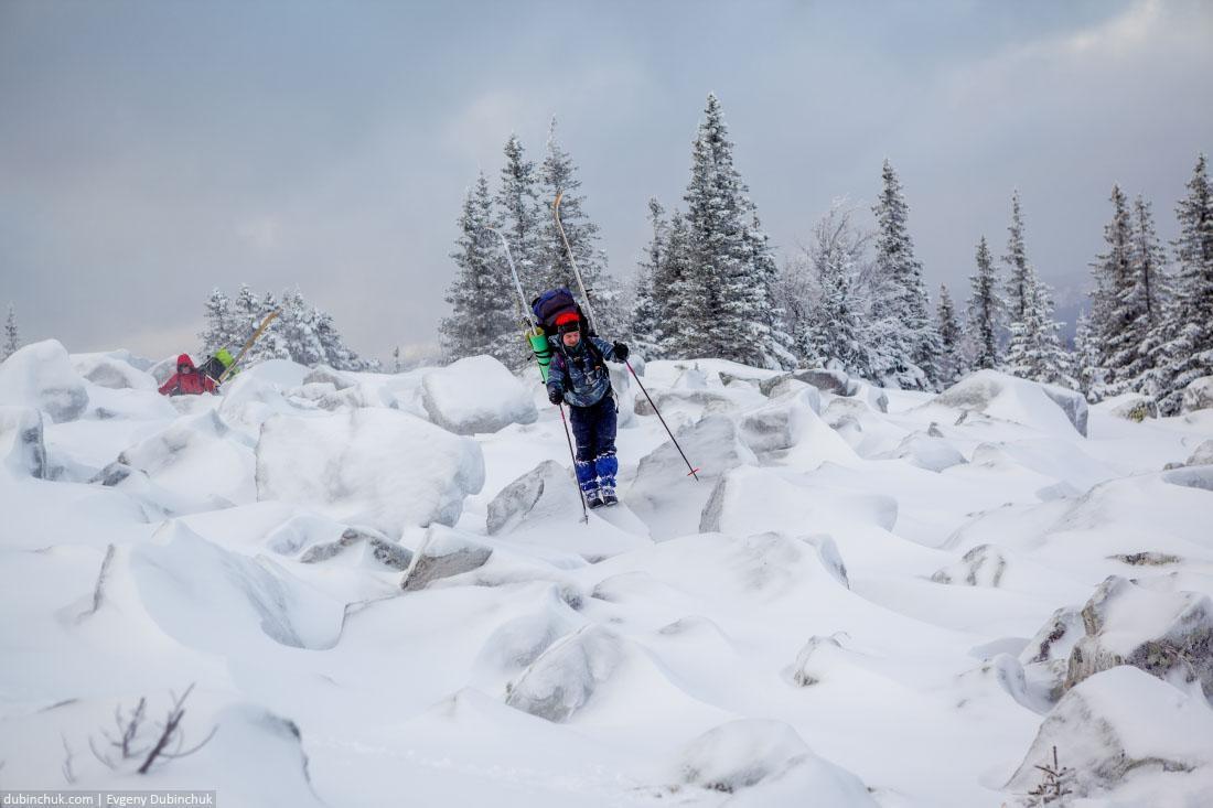 По камням в лыжном походе. Южный Урал