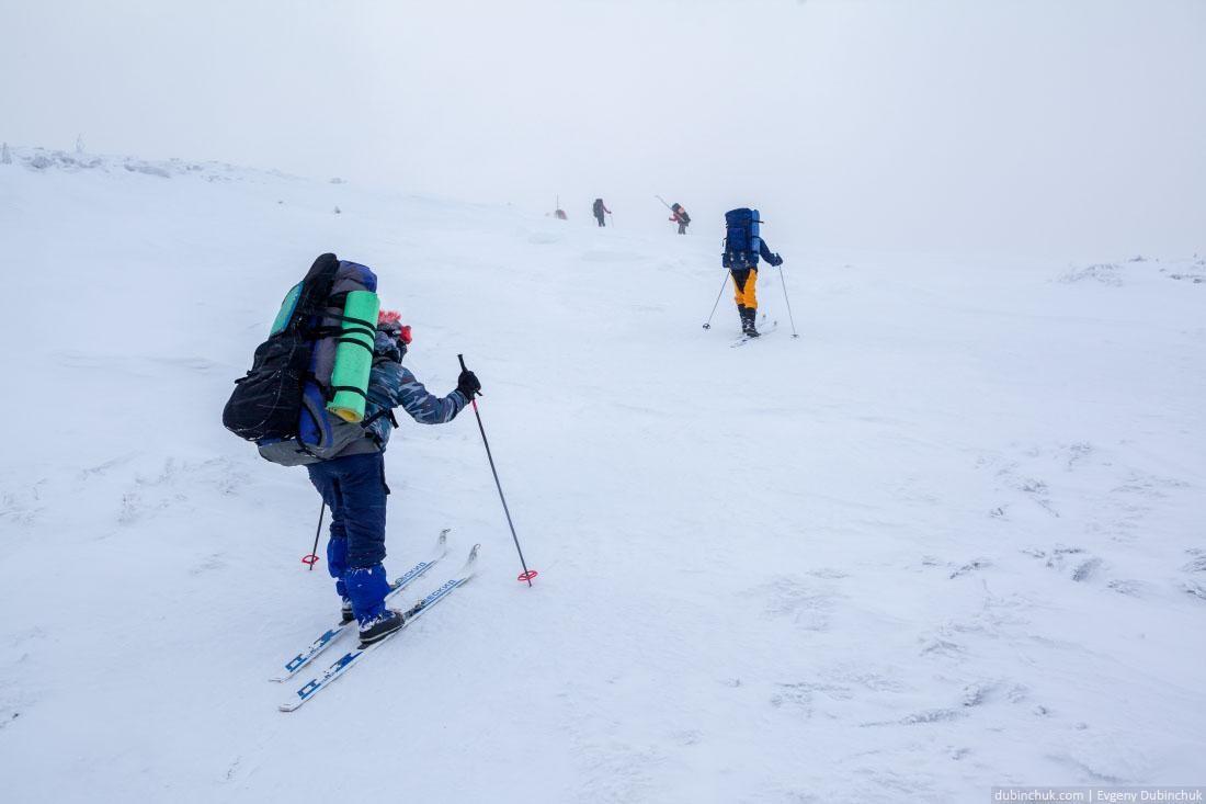Подъем к вершине. Хребет Нургуш. Поход на лыжах