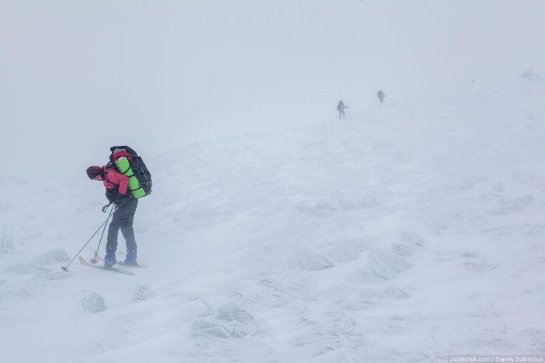 Лыжный поход. Сдувает ветром